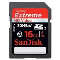 SANDISK Carte SDHC Extreme/Video HD 16GB pour la vidéo (30MB/s).