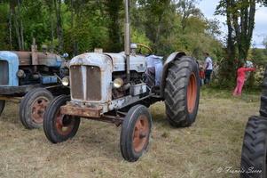 Démonstration d'une ancienne  moissonneuse batteuse actionnée par un tracteur d'époque de la Société Française Vierzon 402, de 1951.